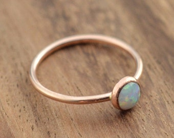 14K Rose Gold Opal Ring // 14k Rose Gold Filled Opal Ring // October Birthstone Ring // Rose Gold Ring // Simulated Opal Stacking Ring