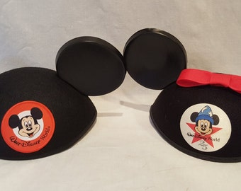 Vintage Mickey Minnie Mouse Ear Hats Walt Disney World 25 Adult