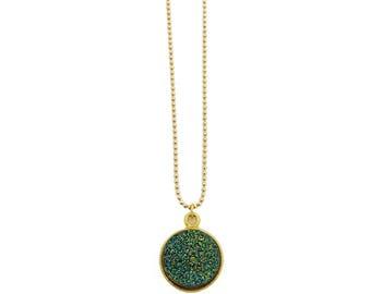 Green Druzy Necklace, Druzy Pendant Necklace, Geode Necklace, Boho Necklace, Glitter Necklace