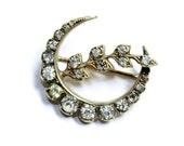 Crescent Moon & Flower Branch Sparkly Rhinestone Diamante Edwardian Style Brooch (c1930s) stone missing - Wedding