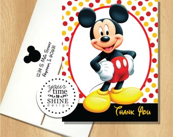 Mickey Mouse Polka Dot - Folded Thank You Notes