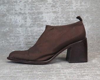 Vtg 90s Copper Brown Neoprene Chunk Heel Elastic Slip on Shoes 7