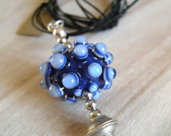 Saltire Blue King glass bead / GLASS Bead Chain Deep Blue