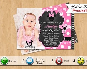 Minnie Mouse Invitation,Pink Polka Dot Invitations, Minnie Mouse Party, Minnie Mouse Birthday Printables Style 4- YOU PRINT