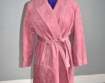 Dusty Rose Faux Suede Trenchcoat Ultrasuede Pink Tie Belt Plus Size Women's Coat