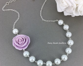 Lilac Flower Necklace, Purple Flower Necklace, Pearl Necklace, Bridesmaids Necklace, Rose Necklace, Statement Necklace