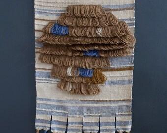 Mid Century Fiber Art Wall Hanging - Macrame - MCM Hanging Tapestry - Don Freedman Style Woven Art Wool Yarn Natural Fibers