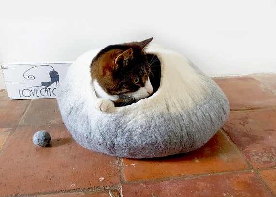Cat Bed Cat Cave Cocoon in Grey and White ideal cat lover gift
