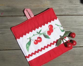 Cherries Pot Holder for your Cottage Kitchen, Red Pot Holder, Retro Potholder for your Vintage Kitchen, Cherry Kitchen Decor