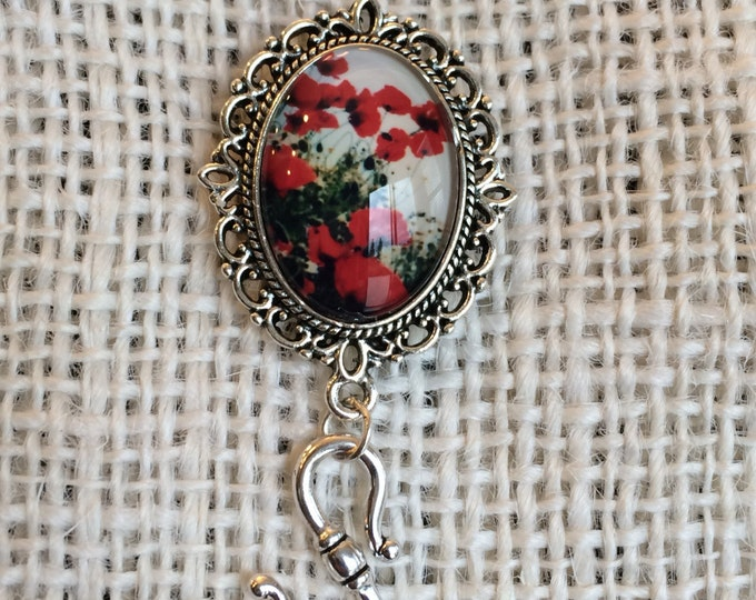 Knitting Pin - Magnetic Knitting Pin for Portuguese Knitting - Red Roses