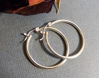 Sterling Silver Hoops - Artisan Hoop Earrings - Tubular design - Snap back closure