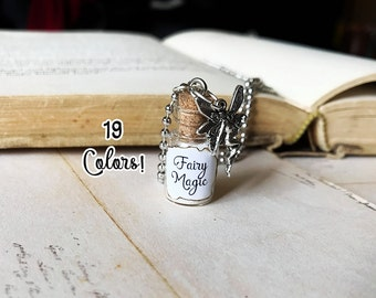 Fairy Magic Glass Bottle Necklace Charm - 1ml Magic Dust Sparkle Glitter Vial Pendant - Kawaii Fairies