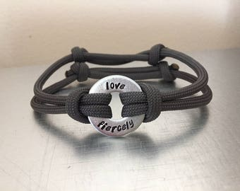 LOVE FIERCELY Bracelet - Personalized One Washer Double Strap Paracord Bracelet