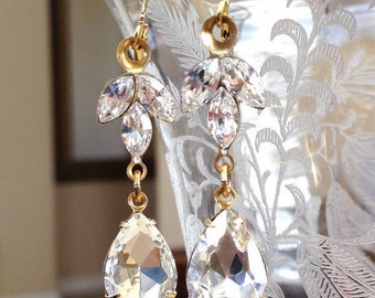 GOLD or SILVER Swarovski crystal earrings, rhinestone leaf, tear drop, bridesmaid gift, bridal earrings, wedding jewelry, long earrings