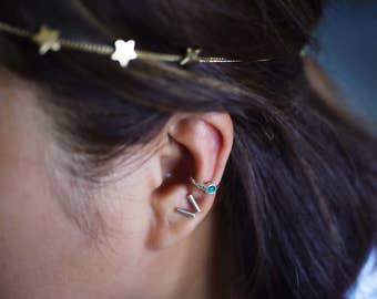 Green Agate Ear Cuff Sterling Silver