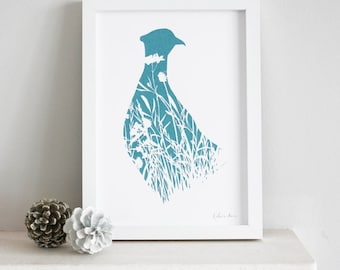 pheasant screen print, framed open edition A4 print, bird and wildflowers hand printed in teal