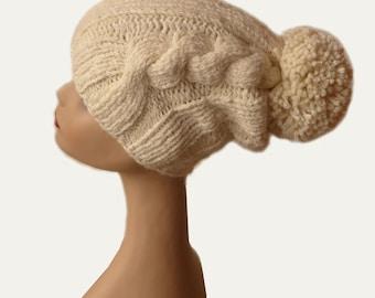 Pompom Hat / Pom Pom Beanie / Pom Knit Hat / Beanie / Womens Hat / Gift / Off-White Hat / Warm Winter Hat / Women Accessories