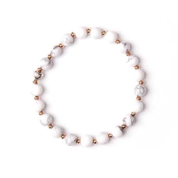 "Howlite bracelet ""valentine marble"" handmade in Montreal"