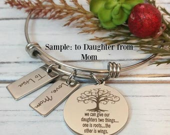 Mother's Day-Mother Daughter Roots and Wings Quote Engraved Personalized Bracelet-Tree of Life