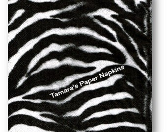 4 Decoupage Napkins, Craft Paper Napkins, ZEBRA STRIPES Black White Animal Print 33cm 13 Inch. 2000 Printed Designs for Papercraft, Collage