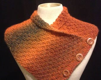 NECK WARMER Hand-Knitted Earthy Wool Scarf Shawl Cowl With Wood Buttons for Winter by Els