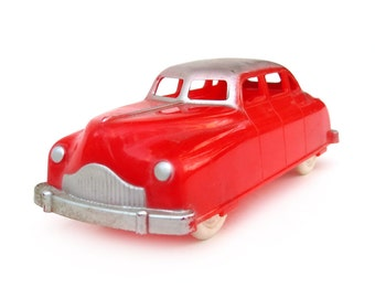 "1950s Renwal Two-Tone Sedan 103, 4.25"" Hard Plastic Toy Car, License Plate #103, Red and Silver, Metal Axles, Excellent Vintage Condition"