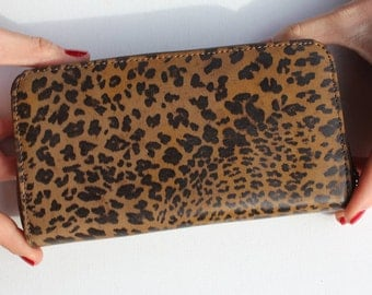 Leopard Print Zip Surround Leather Wallet