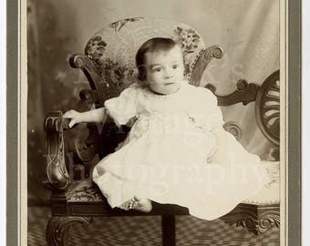 Cabinet Card Photo - Charming Portrait of Victorian Cute Baby - H C Messer of Salisbury England - Antique Photograph