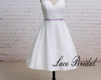 Puffy A Line Lace Wedding Dress with Puffy A Line Knee Length Lace Wedding Dress with V Neckline