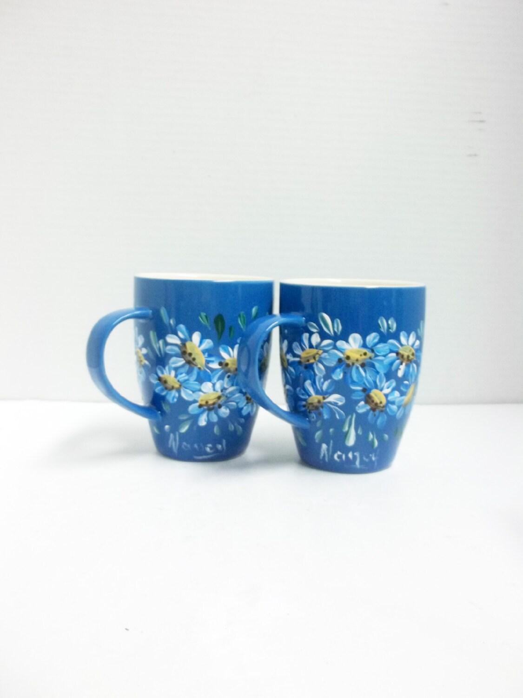 Blue ceramic mugs hand painted scandinavian design blue for Blue mug designs
