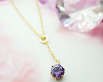 Amethyst CZ Necklace, Purple Cubic Zirconia, Gold Y Pendant, Chain Necklace, Necklaces for Women, Gold CZ Jewelry, Bridal Necklace, N2429