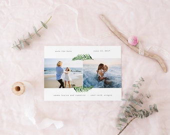 printable save the date card · palm frond · summer marriage announcement · wedding date card · watercolor palm leaf save the date printable