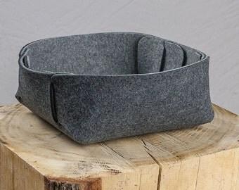 "Catch all tray felt, bicolor gray, ""Steckwerk"", 100% wool, 5 mm"