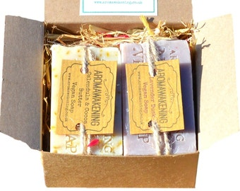 Soap Gift Box UK Palm Free Vegan Cold process Soap Naturally Scented With Essential Oils, A Fab Gift Idea