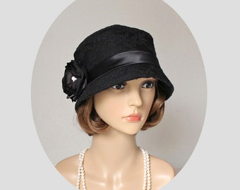 Black cloche hat with cotton and lace, 1920s flapper hat, black Great Gatsby hat, black summer hat, Miss Fisher hat, Downton Abbey hat