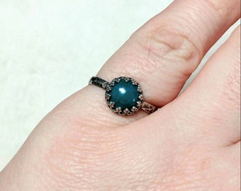 Blue Stone Engagement Ring   Sterling Silver Ring Sz 7.75   Blue Green Stone Ring   Natural Chrysocolla Jewelry   Simple Green Stone Ring