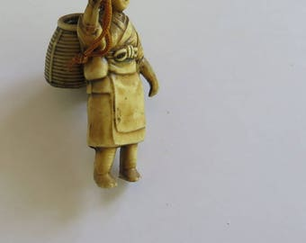 Celluloid Asian Figure, Miniature Celluloid Figurine