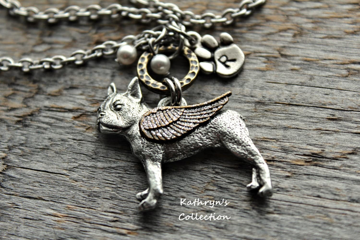 Boston Terrier Memorial Necklace Boston Terrier Angel Boston