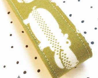 Wide Key Chain / Key Fob: White Hippos On Green Fabric