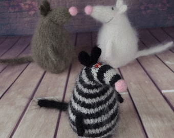 Rat Striped toy mouse knitted rat Amigurumi Toy mouse  Miniature Doll rat crochet toy rat plush mouse amigurumi wool rat stuffed toys