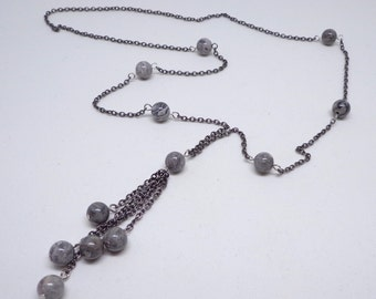 Gunmetal finish long drape necklace with Natural Grey Mapstone