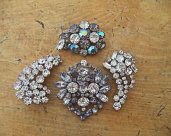 Destash LOT Vintage Crystal (Clear) Rhinestone Brooches Set of 4 Rhinestone Pins Vintage Wedding Bride