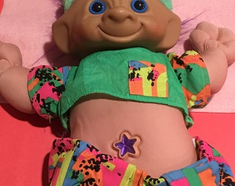 Tall Treasure Troll With Star Belly and Fun Clothes Tall