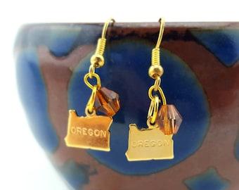 Oregon Earrings - State of Oregon earrings - gold oregon earrings - i love oregon earrings - oregon silhouette earrings gold plate with bead