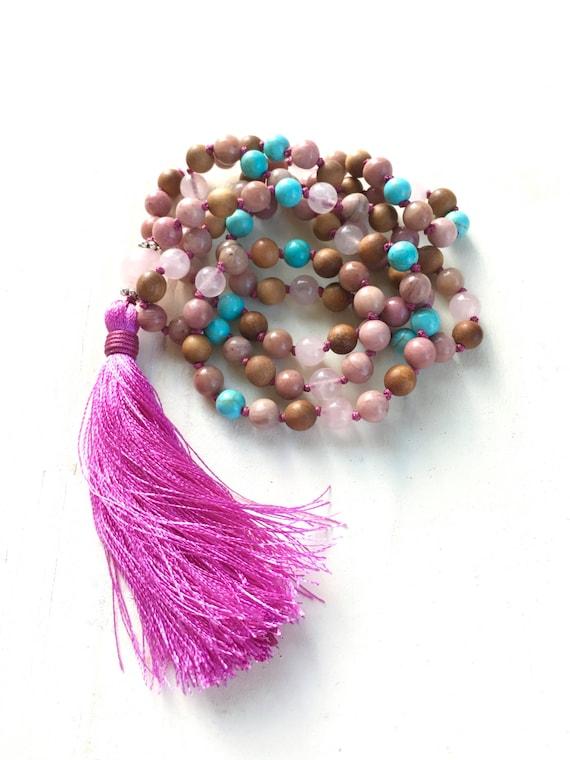 Balance The Emotions Mala Beads, Rhodonite Mala Necklace, Rose Quartz, Sandalwood and Howlite Mala, 108 Bead Mala Necklace, Yoga Jewelry
