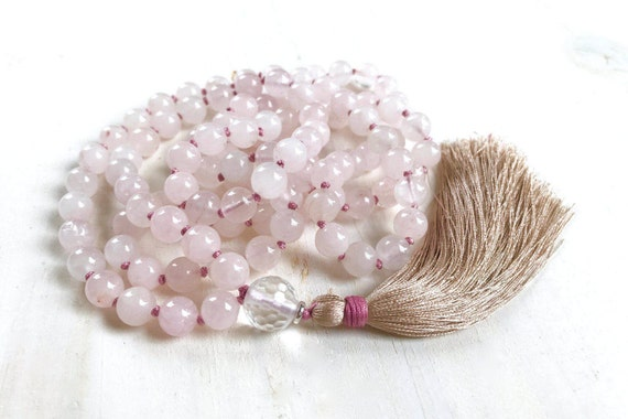 Inner Peace Mala, Rose Quartz and Clear Quartz Mala Necklace, Hand Knotted Light Pink Mala, 108 Bead Mala Meditation Beads, Mala For Love