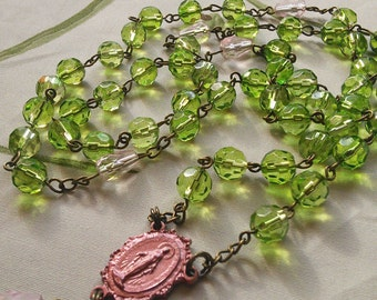 Christian, Catholic Rosary Beads, handmade from green and pink glass beads,