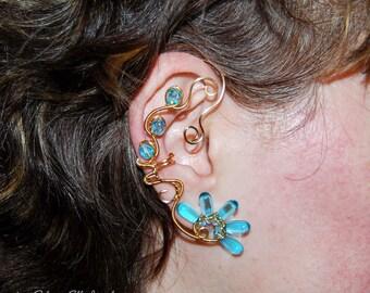 Golden reflections ear cuff, water ear cuff, Elemental jewelry, no piercing earrings, cuff earrings, Naiad earrings, magick jewelry