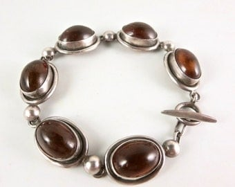 Rare COF Denmark Bracelet Vintage Carl Ove Frydensberg Sterling Silver Oval Amber Linked Cabochons Toggle Clasp