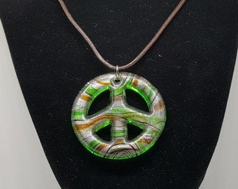 Murano Glass Peace Symbol with Genuine Leather Necklace - Pick Charm/Length